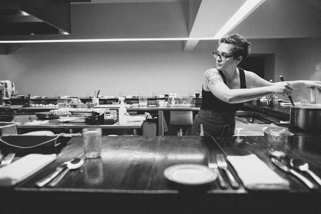 Pastry chef Lisa Donovan in the kitchen