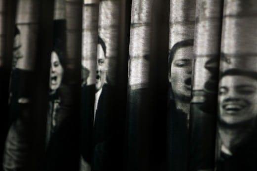 """Detail of Vesna Pavlovic installation, """"Fabrics of Socialism."""""""