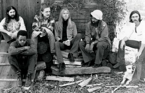 Leavell (top left) with the Allman Brothers Band in 1973.