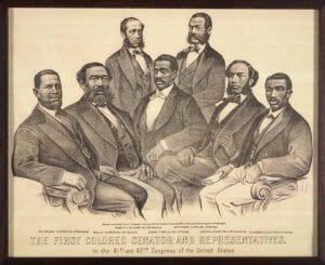 The First Colored Senator and Representatives in the 41st Congress of the United States, 1872. Lithograph