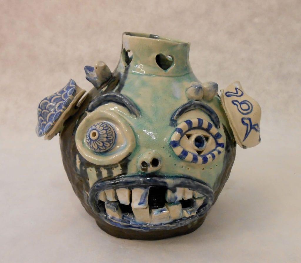 "Jiha Moon. ""Ollie Face Jug,"" (2014). Ceramic, underglaze glaze, 8 1/4"" x 10 1/2"" Courtesy Saltworks Gallery. Image courtesy of the artist."
