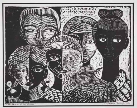 "Margaret Burroughs:""The Faces of My People,"" 1990s, linocut."