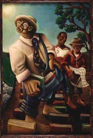 In 200, the Kinseys commissioned a painting from then-SCAD student Samuel L. Dunson Jr.  The Cultivators depicts the Kinsey family sowing the seed of knowledge.
