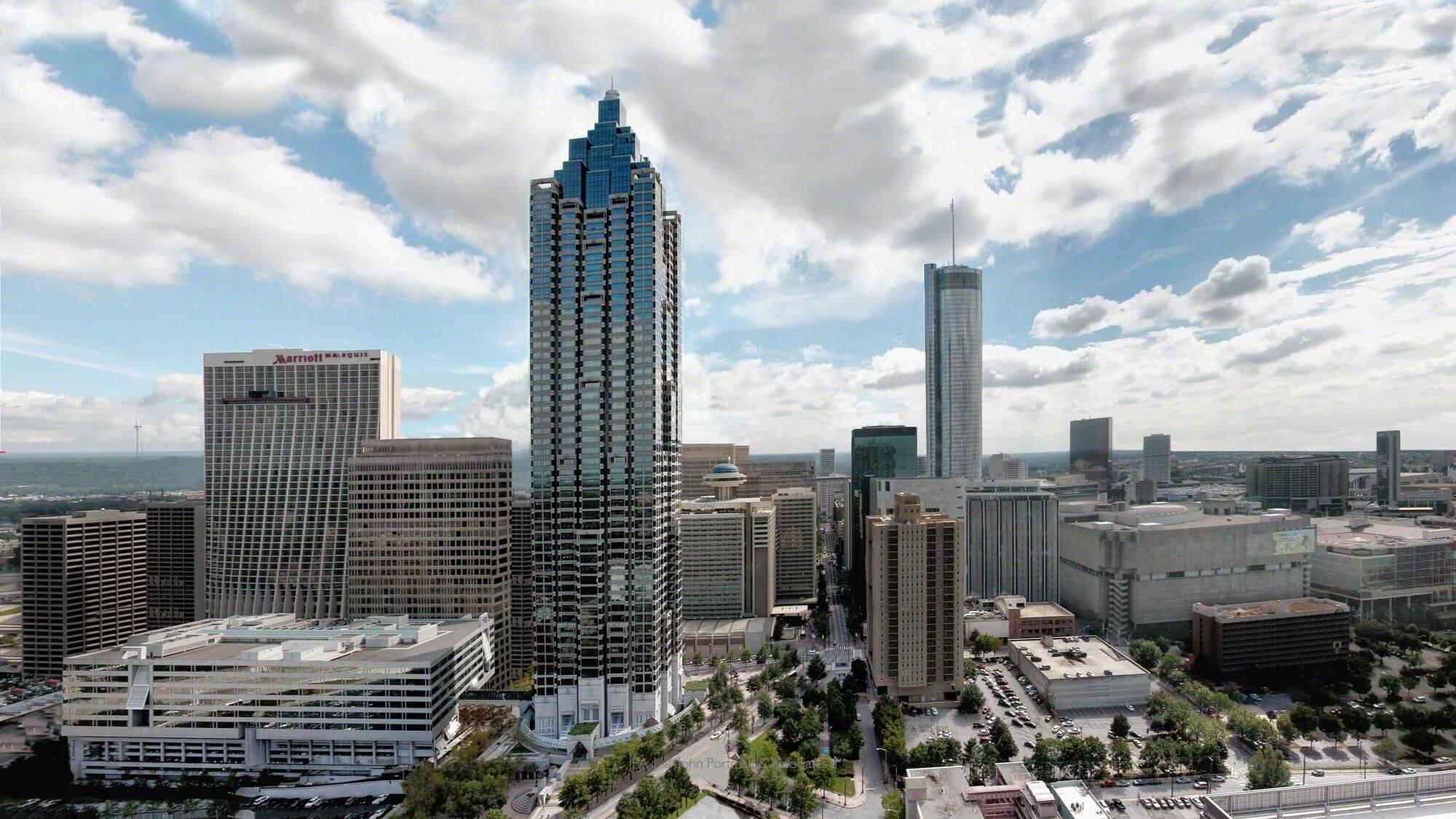 Buildings in Downtown Atlanta designed and built by John Portman.
