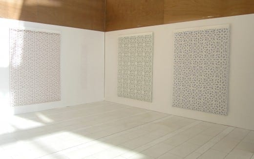 Reni Gower Papercuts: White/copper, White/emerald,  White/cobalt  and Tamim Sahebzada (Wall tracing). (Photo by Mike Jensen)