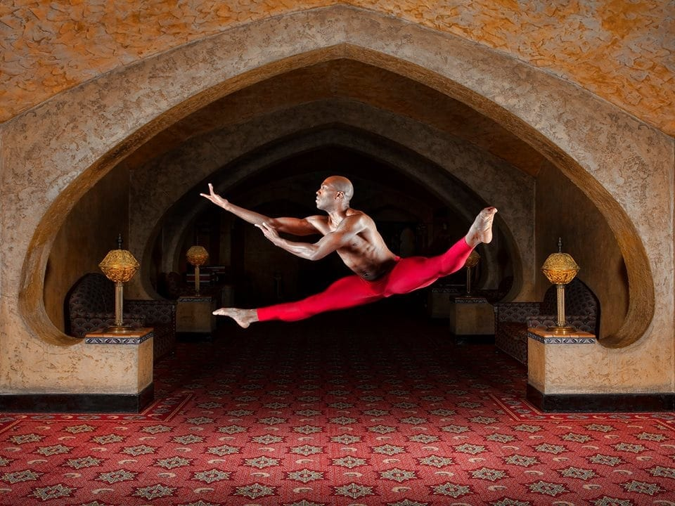 Alvin Ailey's Antonio Douthit-Boyd in the lobby of the Fox Theatre. (Photo by Richard Calmes/Courtesy Alvin Ailey Dance Theater)