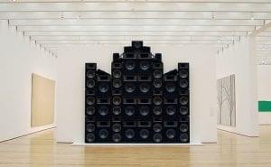 Nadine Robinson's sound piece, Coronation Theme: Organon, consists fo 28 audio speakers stacked to resemble the façade of Ebenezer Baptist Church.