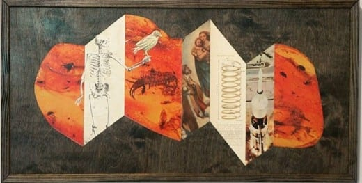 Mike Germon: Chronological Disassociation, collage on wood.