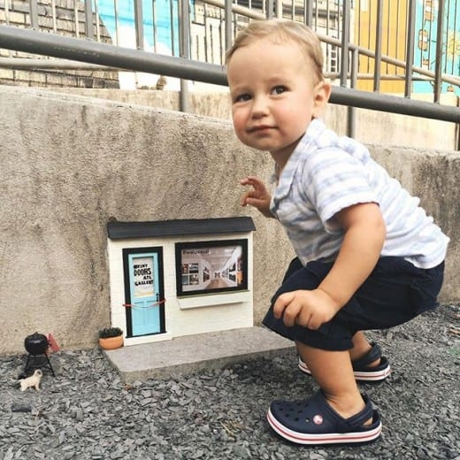 Wyatt gets a kick out of this Tiny Door on the Atlanta BeltLine.