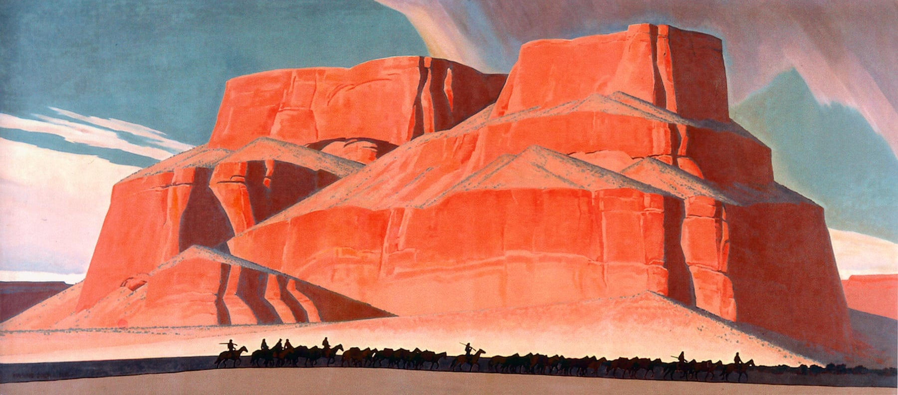 """Maynard Dixon (1875–1946): """"Red Butte with Mountain Men,"""" (1935). Oil on canvas, 95 x 213 in. Booth Western Art Museum, Cartersville, GA."""