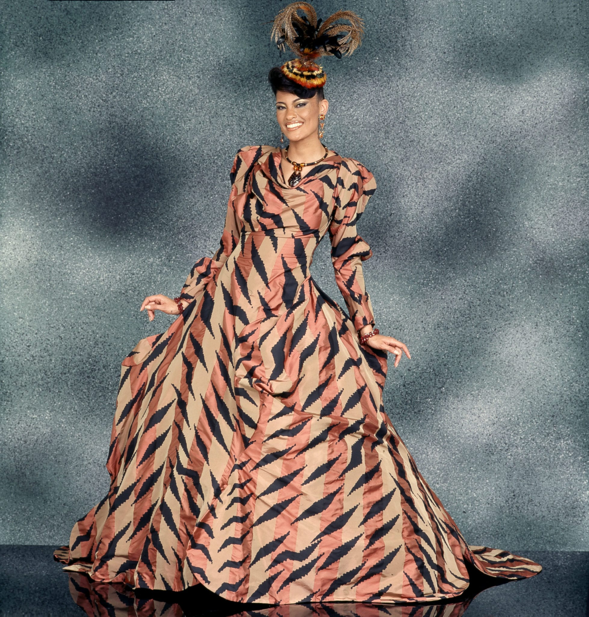 "Vivienne Westwood designed this silk ribbon taffeta gown  for 2001-2002 ""Simply Spectacular"" Ebony Fashion Fair."