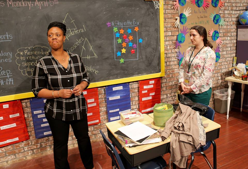 Monique Grant (left) and Vanessa Aranegui as the parent and teacher in a conference that forms the play. (Photo by Grant McGowen)