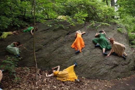 Glo artists create a colorful tableau on an outcropping in Central Park. (Photo by Thom Baker)