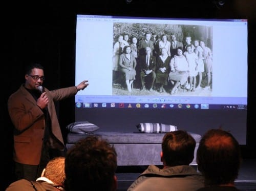 Thomas Allen Harris discusses a family portrait during his roadshow at the  2014 Sundance Film Festival.