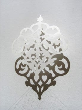 A detail of Julia Townsend's papercut and wall drawing.