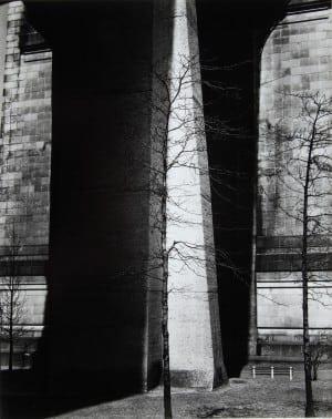Brett Weston: Bridge Support and Trees, New York, ca. 1940, gelatin silver print mounted on board.