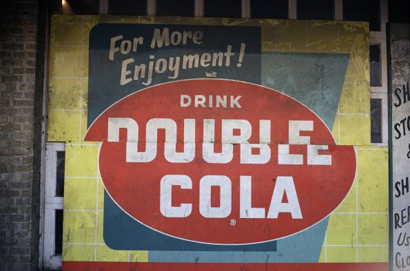 "William Christenberry: ""Double Cola Sign, Beale Street, Memphis, TN 1966."" Image courtesy Jackson Fine Art."