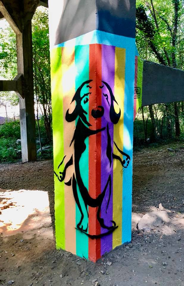 "Linda Mitchell's ""Rainbow Pupper"" mural in its new location on the Atlanta BeltLine"