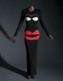 "Patrick Kelly design created for ""Fashion Scandal"" fair."