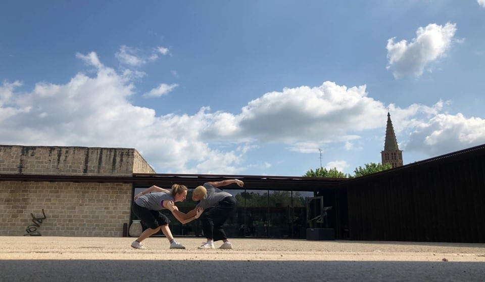 "Two dancers rehearse in France for ""if . . . a memoir."""