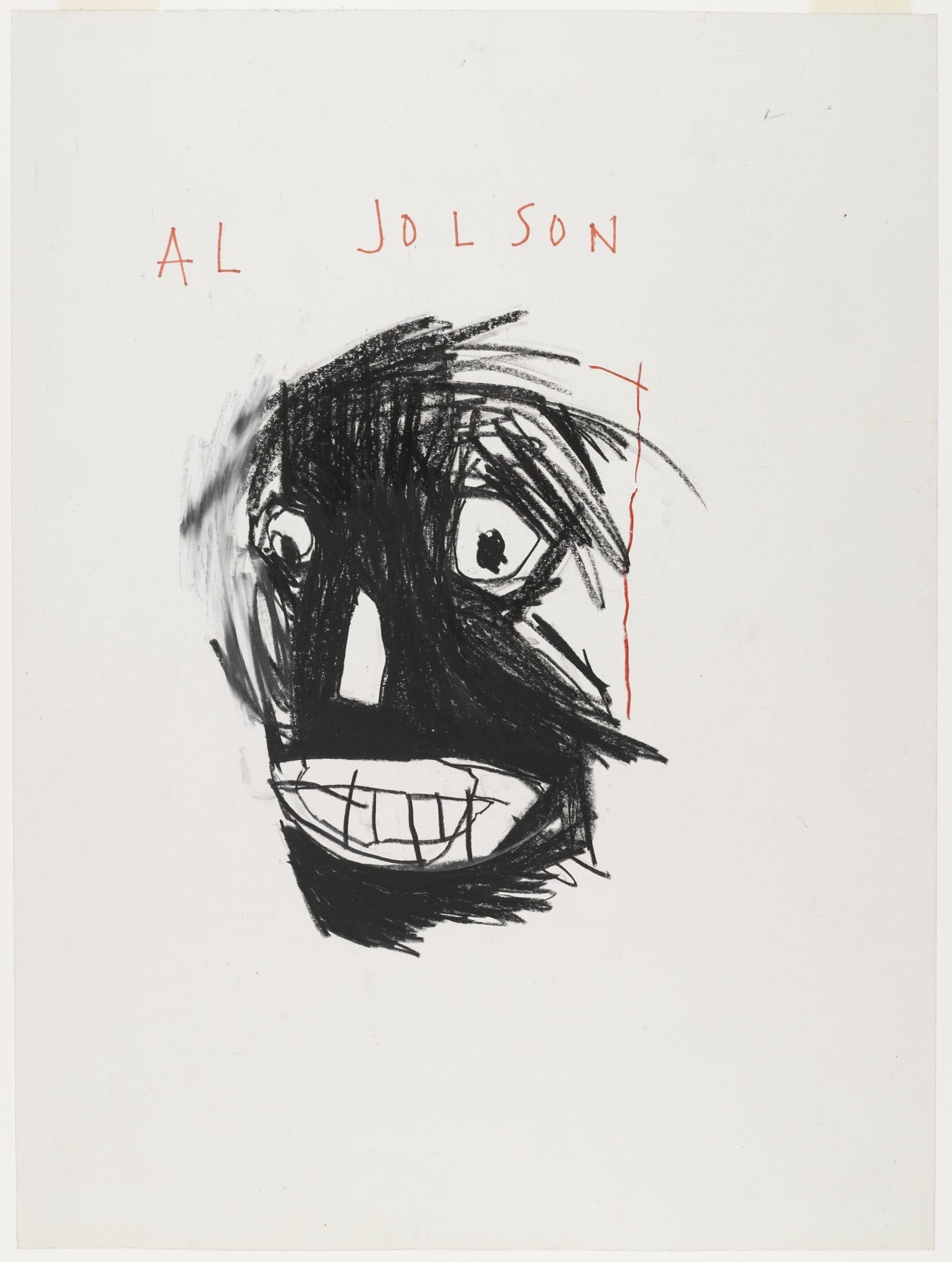 Jean-Michel Basquiat (American, 1960–1988). Untitled Notebook Page, ca.1987. Wax crayon on ruled notebook paper, 9 5/8 x 7 5/8 in. (24.5 x 19.4 cm). Collection of Larry Warsh. © Estate of Jean-Michel Basquiat, all rights reserved. Licensed by Artestar, New York. Photo: Sarah DeSantis, Brooklyn Museum.Jean-MichelBasquiat (American, 1960–1988). Untitled Notebook Page, 1980–1981. Metallic ink and ink wax crayon on ruled notebook paper, 9 5/8 x 7 5/8 in. (24.5 x 19.4 cm). Collection of Larry Warsh. © Estate of Jean-Michel Basquiat, all rights reserved. Licensed by Artestar, New York. Photo: Sarah DeSantis, Brooklyn Museum.Jean-Michel Basquiat (American, 1960–1988). Al Jolson, 1981. Oilstick on paper, 24 x 18 in. (61 x 45.7 cm). Brooklyn Museum, Gift of Estelle Schwartz, 87.47. © Estate of Jean-Michel Basquiat, all rights reserved. Licensed by Artestar, New York. Photo: Jonathan Dorado, Brooklyn Museum.