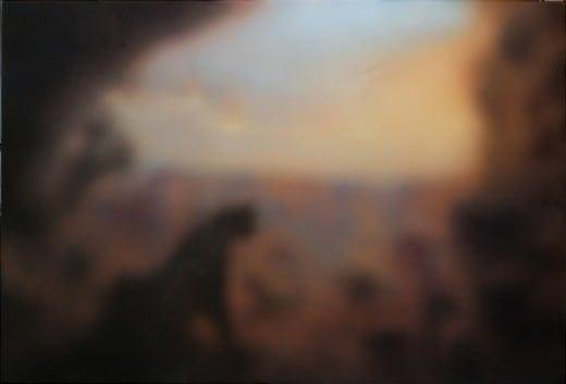 Joe Peragine: AMNH Cougar 2015, acrylic and resin on canvas.