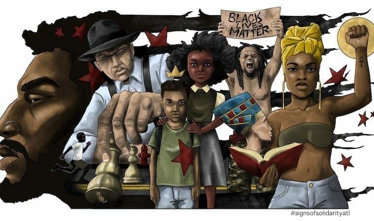 BLACK LIVES MATTER banner by Aaron Trimiar July 2020