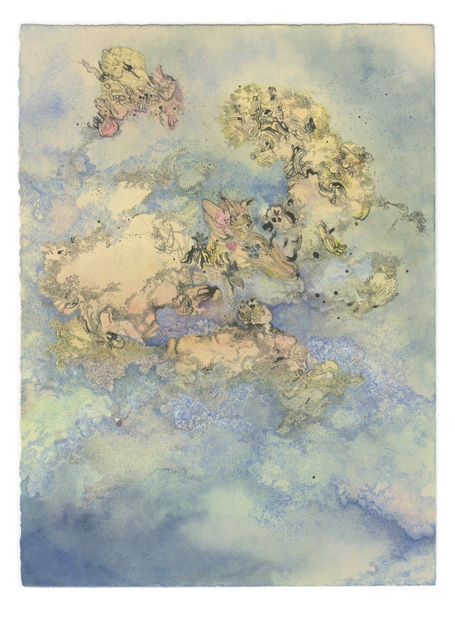 Hannah Adair, Columbine (Aqueligea), lithography, pen, ink watercolor.