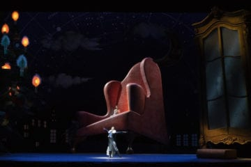 "The stage, and a huge chair, for Atlanta Ballet's ""The Nutcracker."""