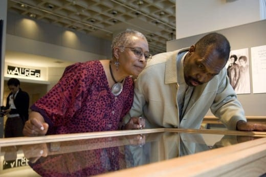 Alice Walker with the late Rudolph Byrd, looking at  a 2009 exhibition of her materials from her archive in Emory's Stuart A. Rose Manuscript, Archives and Rare Book Library. Courtesy of  Emory Photo/Video.