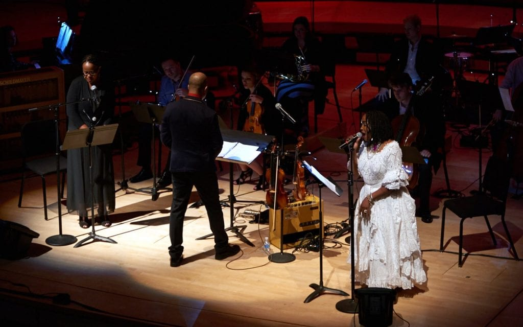 "Danticat (left), Roumain, Michel and ensemble perform ""Anacaona, The Golden Flower Songs."" (Photo by  Jonathan Mark Pittman)"