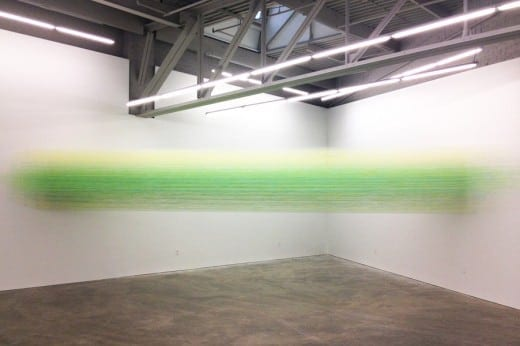 Anne Lindberg: taut green, 2013, Egyptian cotton thread, staples. Courtesy the artist.