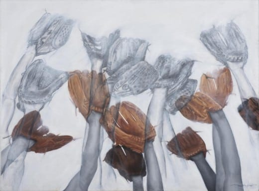Arlés del Rio Flores: untitled, charcoal and oil,  from  Hoping That Things Fall from the Sky or National Sport series.