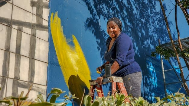 Ashley Dopson - FISH ARE JUMPING mural WIP Nov 2020