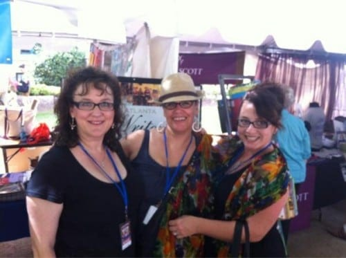 Atlanta authors Joshilyn Jackson, Jessica Handler and visiting author Lydia Netzer at the Decatur Book Festival.