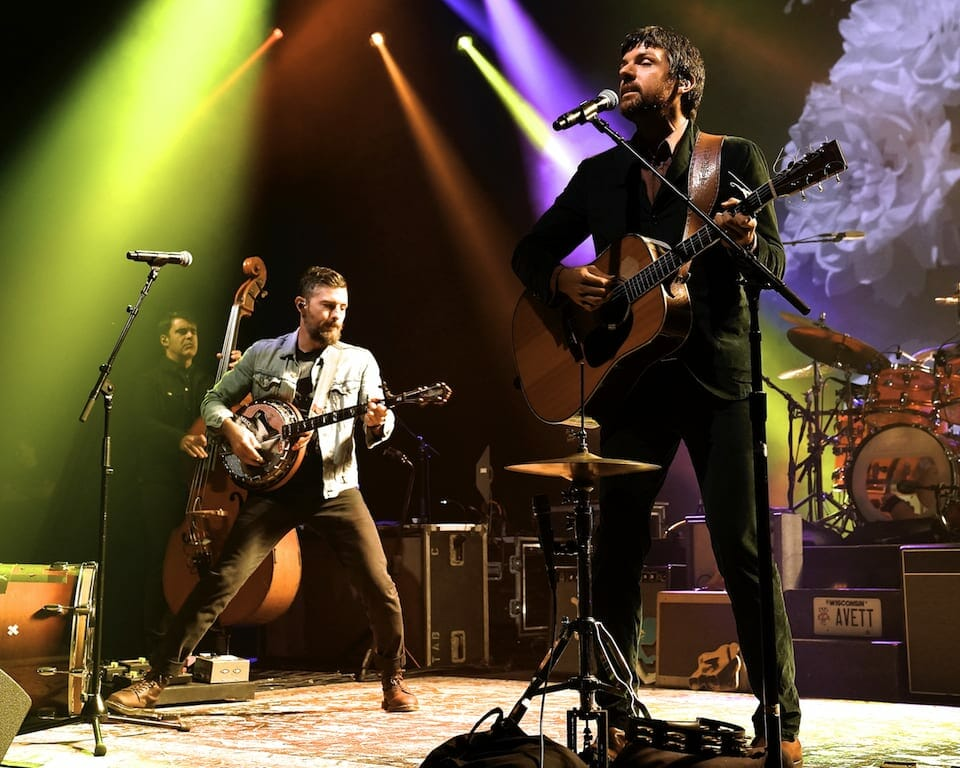 The Avett Brothers on stage at Atlanta's Fox Theatre.