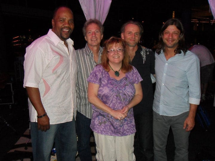 Nancy Lewis-Pegel with (from left to right) Yonrico Scott, Randall Bramblett, , Geoff Achison, Ted Pecchio. (Photo by Rob Pegel)
