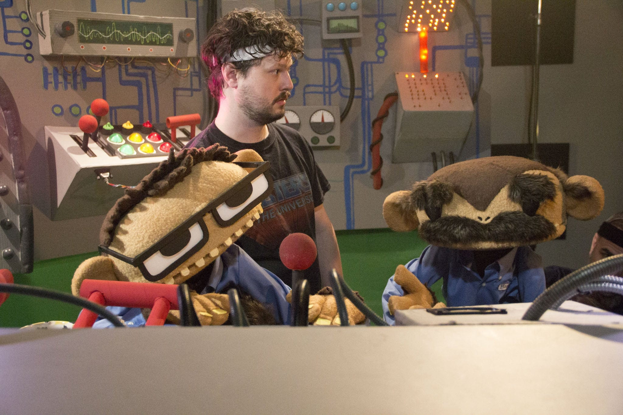 """Puppeteer Beau Brown on the set of """"Monkey Brains.""""  (Photos by Matt Bailey)"""