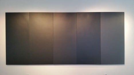 """""""Black,"""" (2016). BEHR Black TC-45 latex paint, wood, 80"""" x 36"""" """"Dark Black,"""" (2016). Valspar Dark Kettle Black 4011-2 latex paint, wood, 80"""" x 36""""  """"Very Black,"""" (2016). Valspar Very Black 5011-2 latex paint, wood, 80"""" x 36""""   """"Totally Black,"""" (2016). Behr Totally Black HDC-MD-04 latex paint, wood, 80"""" x 36"""" """"New Black,"""" (2016). Valspar New Black 4011-1 latex paint, wood, 80""""x36."""""""