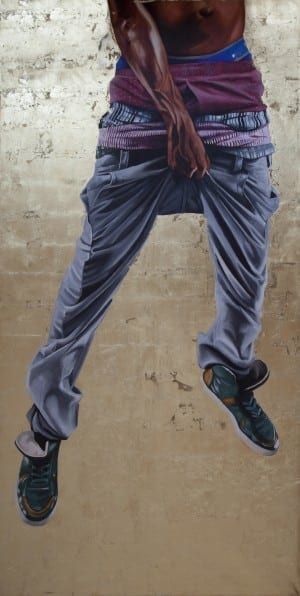 Fahamu Pecou: Black Boy Fly, Black Boy Fly, 2014, acrylic and gold leaf on canvas, 120 x 60 inches.