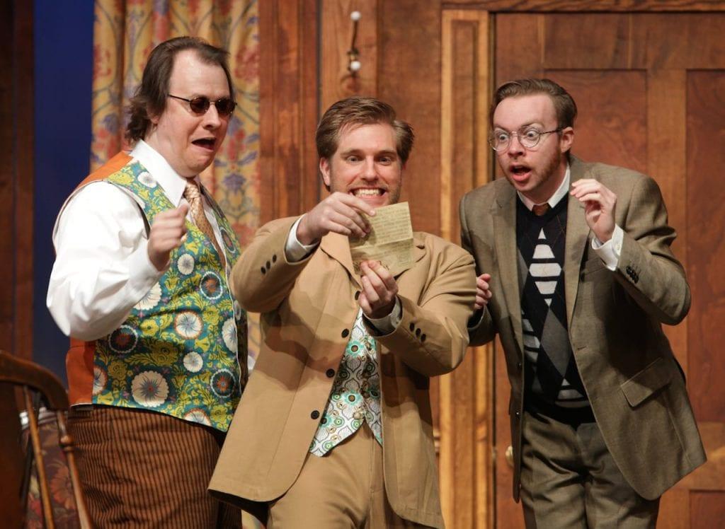 Hugh Adams, Joe Sykes, and William Webber in Charley's Aunt. (Photo by Dan Carmody)