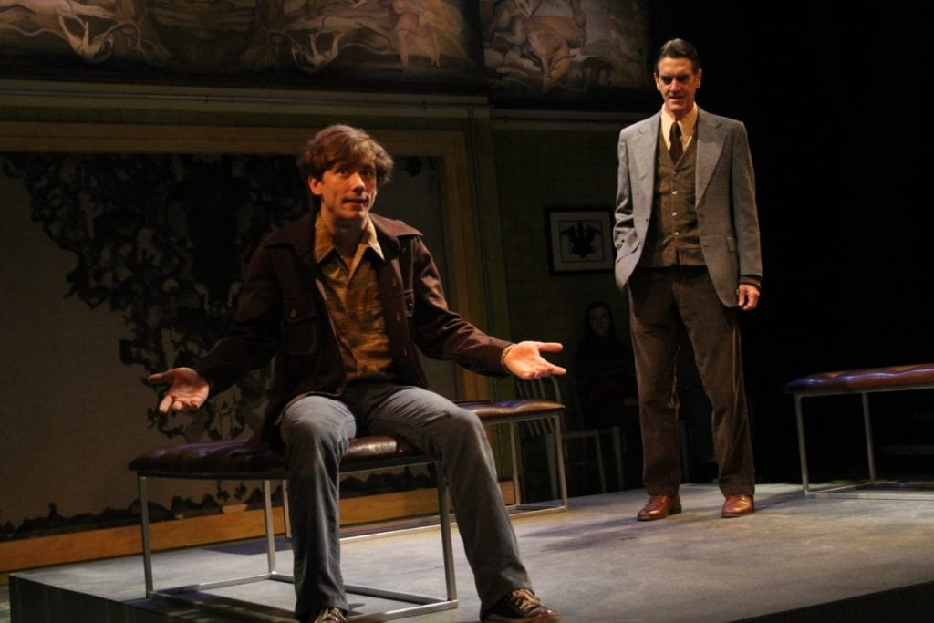 "Kyle Brumley (left) and Chris Kayser on the ""Equus"" set designed by the Curley-Clay sisters at Aurora Theatre. (Photo by BreeAnne Clowdus)"