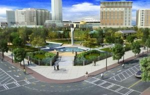 A vision for an expanded Centennial Olympic Park. Rendering courtesy Coxe Curry & Associates and the Georgia World Congress Center Authority.