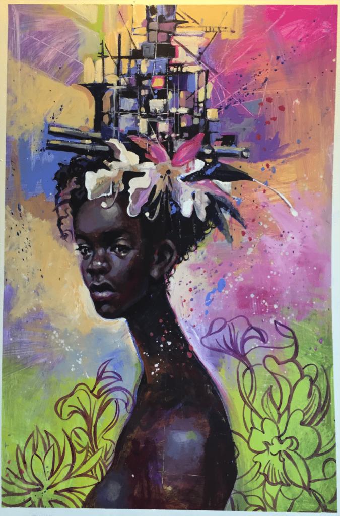 "Charly Palmer. ""Battleship 2"" (2015). Acrylic on Canvas. Image courtesy ZuCot Gallery."