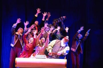 """The 2019 company of """"Christmas Canteen"""" at Aurora Theatre."""