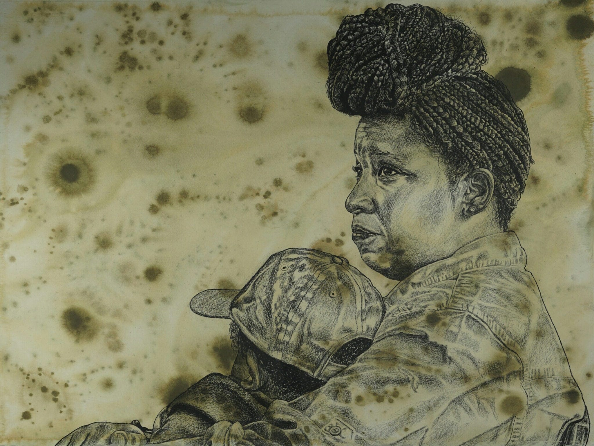 "Alfred Conteh: ""Mama Waiting."" Charcoal and acrylic on paper, 22 x 30 in."