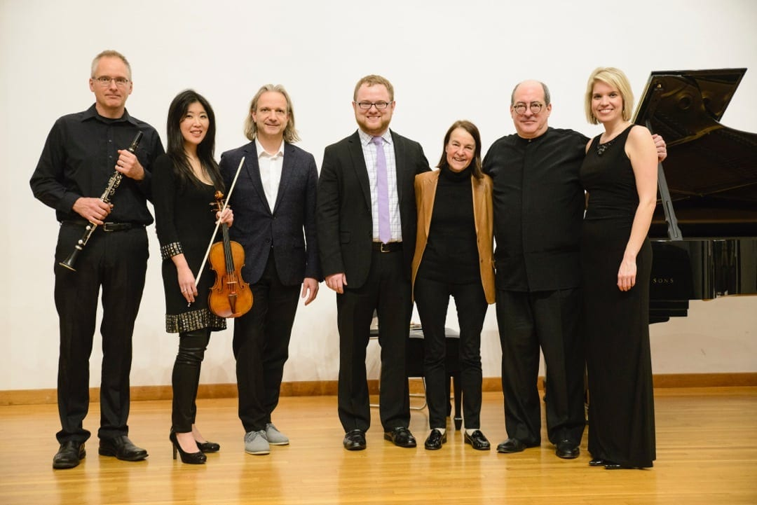 Buller with the Rapido! judges and the Atlanta Chamber Players. From left to right: Ted Gurch, Helen Hwaya Kim, Michael Gandolfi, Buller, Libby Larsen, Robert Spano, Elizabeth Pridgen. (Photo by Greg Mooney)