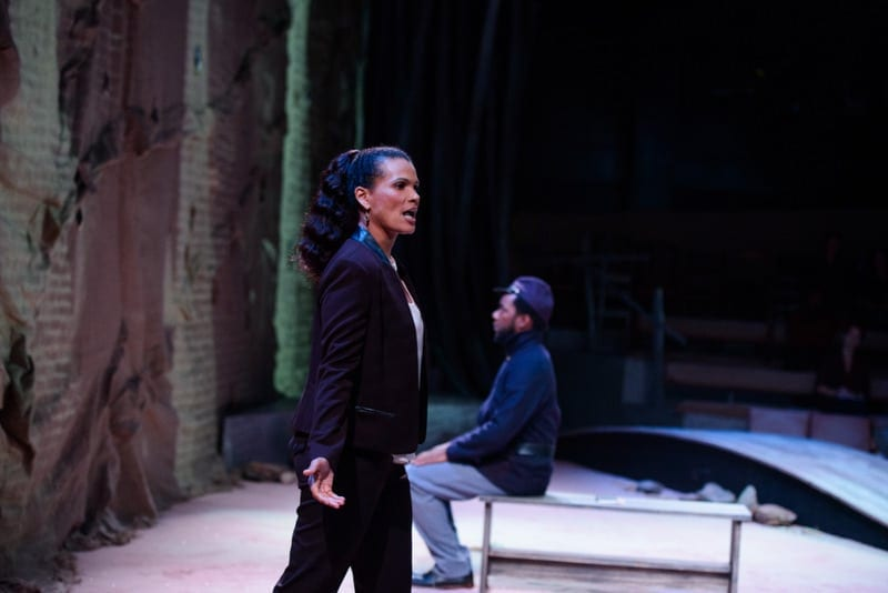 January LaVoy and Thomas Neal Antwon Ghan in the Alliance Theatre's Native Guard. (Photo by Greg Mooney)