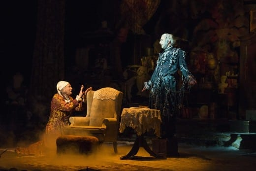 David De Vries, in his debut as Scrooge, confronts the ghost of Jacob Marley (Andrew Benator).