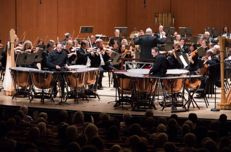 ASO tympanist Mark Yancich (left) stepped into the spotlight on kettledrums with his brother, Paul, at Thursday night's performance. (Photos by Jeff Roffman)